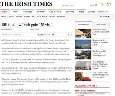 Bill to allow Irish gain US visas